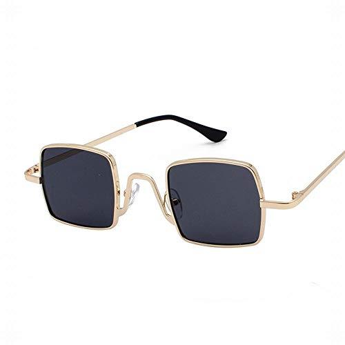 WULE-RYP Polarisierte Sonnenbrille mit UV-Schutz Frauen-Mode-Quadrat Retro Cat Eye verspiegelte Flache Linsen Metallrahmen Sonnenbrille Superleichtes Rahmen-Fischen, das Golf fährt (Farbe : Grau)