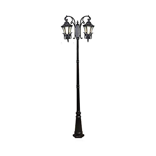 2 Lichter Poller Top Column Lampe Open Air Glas außen Säule Post Lichter traditionelle E27 Aluminiumdruckguss rostfrei Laterne Villa Community Landschaft 2,7 m (Color : Black) - 3-licht Außen Post-laterne