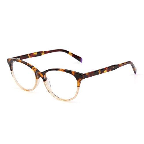 JIM HALO Retro Brille Optischer Rahmen Federscharnier Klar Linse RX-fähig Gläser Damen Herren(Schildkröte/klar)