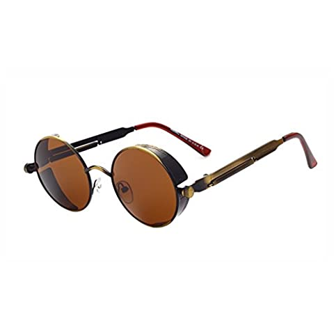 Brand New 2016 Mirror Lens Round Glasses Goggles Steampunk Sunglasses Vintage Retro For Men And Women Hisper Eyewear