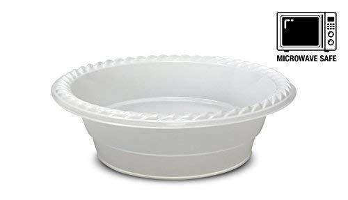 100 cuencos desechables para microondas de alta calidad, fabricados en plástico extrafuerte, sin BPA ni estireno, color blanco (350ml)
