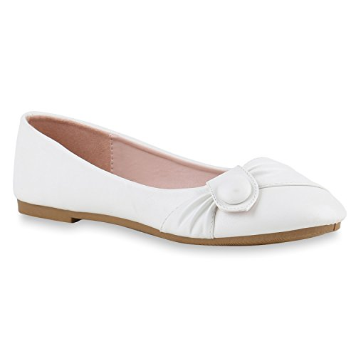 Klassische Damen Ballerinas Leder-Optik Flats Übergrößen Flache Slipper Spitze Prints Strass Schuhe 141149 Weiss Knopf 39 Flandell