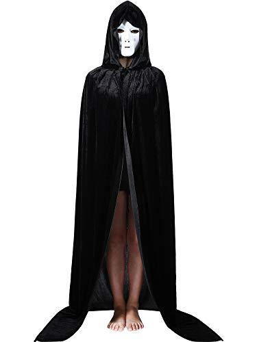 (Boao 185 cm/ 72 Zoll Volle Länge Samt Kapuzen Umhang Schwarzer Umhang mit Kapuze und Weißer Voll Gesicht Maske für Weihnachten Halloween Cosplay Kostüme)