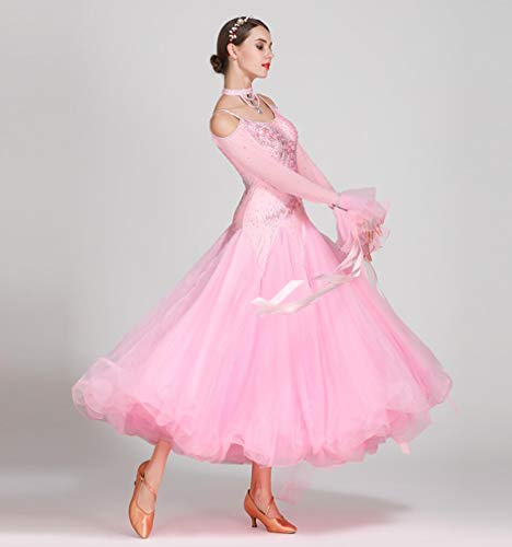 Z&X Women Es Modern Ballroom Dance Kostüm Sling Professional Set Spandex Lycra/Hohe Dichte Garn Pink,XL (Lycra Dance Kostüm)
