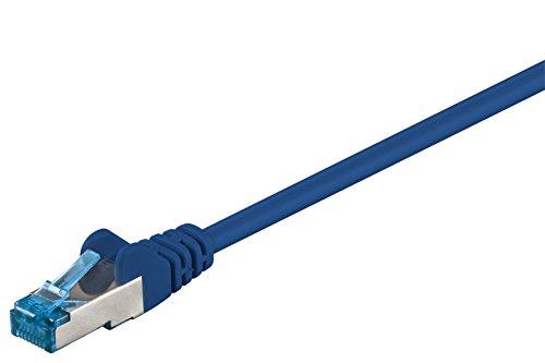 Goobay 92719 CAT 6a PatchKabel, EthernetKabel, doppelt geschirmt, S-FTP bis 10000 Mbits, 500 Mhz, halogenfrei Kupfer Kabel, RJ-45 Stecker, vergoldete Kontakte, 0,25m, Blau
