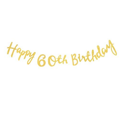 Hacoly Party Girlanden Wimpelkette Girlande Brief Happy Birthday Bunting Banner Gold Glitter für Kinder Party Geburtstage Hochzeit Zelt Dekoration Halloween Geburtstagsparty Deko-60 Jahre alt
