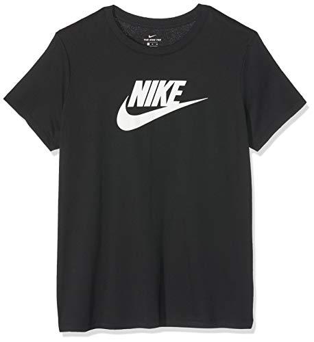 La Damen-t-shirt (Nike Damen W NSW Tee ESSNTL ICON Futura T-Shirt, Black/White, S)