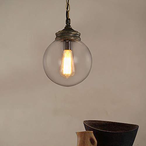 Zhanying Hohe Qualität Vintage Loft Globe Ball Pendelleuchte Schmiedeeisen Glas Lampenschirm Hängen Licht Lampe Küche Bar Leuchte (Farbe : AC 110V, Größe : Warmweiß) - Schmiedeeisen Ball
