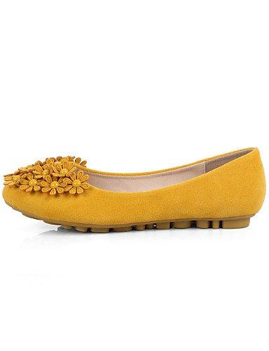 ZQ YYZ Damenschuhe-Ballerinas-L?ssig-Wildleder-Flacher Absatz-Mokassin / Rundeschuh / Geschlossene Zehe-Schwarz / Blau / Gelb / Rosa / Lila yellow-us9 / eu40 / uk7 / cn41