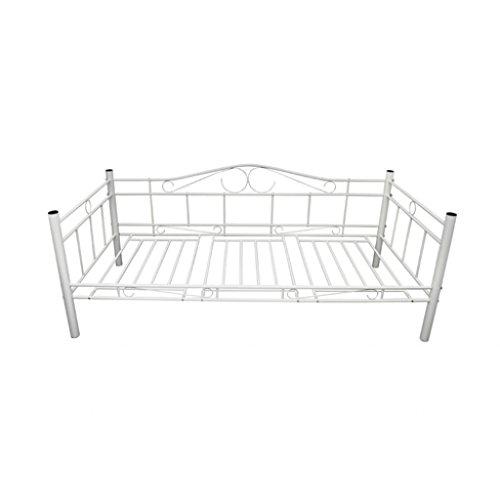 Metallbett 90x200 weiß  vidaXL Tagesbett Einzelbett 90x200 Metallbett Metall Bett ...