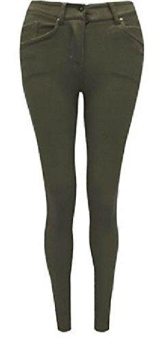 MODE OASIS DAMEN SKINNY BUNT REIßVERSCHLUSS JEGGINGS STRETCH-HOSE JEANS LEGGINGS GRÖßEN EU 36 38 40 42 16 18 20, AUCH IN GROßE GRÖßEN 22 24 26 - Khaki, Small - Frauen Skinny Für Jeans Größe 22