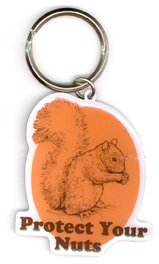 "Top Heavy - Protect Your Nuts High Quality Die-Cut Metal Llavero Keychain Keyring - 2"" x 2.25"" de Top Heavy"