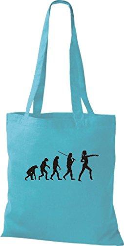 Krokodil Stoffbeutel Evolution Gymnastik Tanz Akrobatik Bodenturne Ballet Baumwolltasche, Beutel, Shopper Umhängetasche, Farbe sky (Nussknacker Kostüme Für Erwachsene)