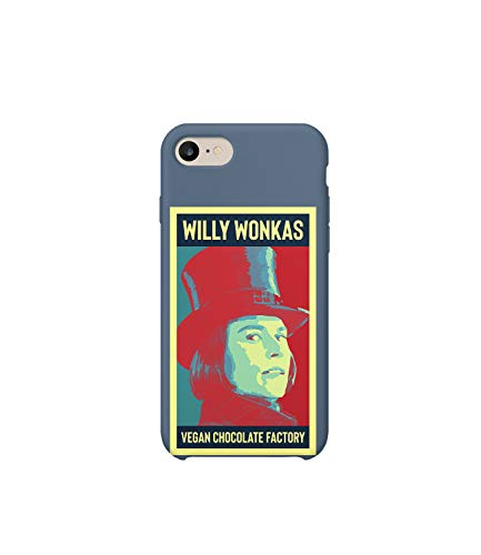 GlamourLab Willy Wonkas Vegan Chocolate Vintage Pop Ad_R3813 Protective Case Cover Hard Plastic Compatible with for iPhone 8 Plus Funny Gift Christmas Birthday Novelty