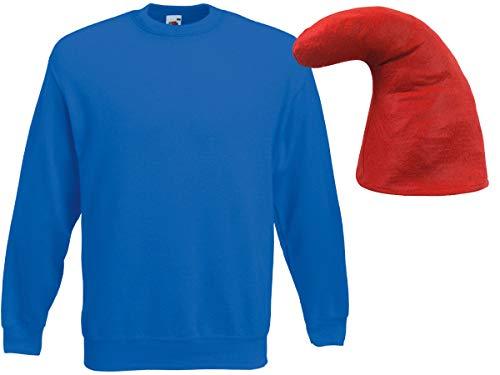 Alsino Zwergen Kostüm Zwerg Verkleidung (Kv-142) Blauer Pullover und rote Zwergenmütze, ()