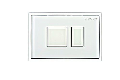 VIGOUR Betätigungsplatte AI, Tastenrahmen aus Glas, Betätigungstaste aus Glas, Farbe: weiß