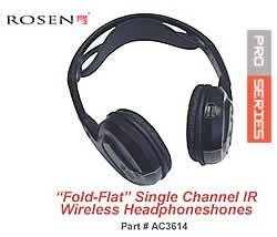 Rosen VPL2588 AC3614 Single Channel Fold Flat IR Wireless Headphones,