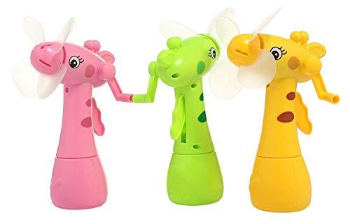 Hand Driven Deer Shaped Safe Portable Mini Mist Spray Fan for Kids (Multicolour) - Set of 1