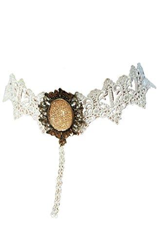 Gothic Kostüm Karneval Fasching Burlesque Dirndl Halsband mit Brosche A12743-1, (Broschen Kostüm)