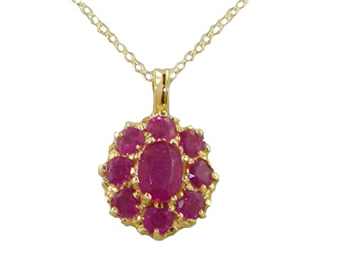 luxury-womens-solid-yellow-10ct-gold-natural-ruby-large-cluster-pendant-necklace-with-20-chain