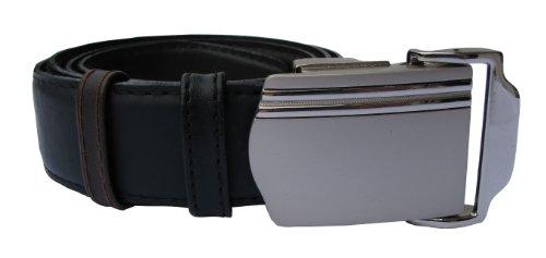 Herrengürtel aus Leder mit Automatikschließe - Ledergürtel in schwarz und dunkel braun als Wendegürtel, stufenlos einstellbar - Gürtel für Herren mit Anzug oder Jeans - Überlänge bis 150cm - Line