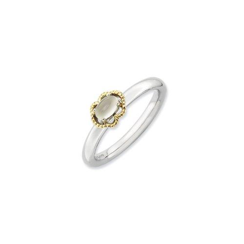 Mondstein Stapelbar Ring (Black Bow Jewellery Company: Sterling Silber & 14K Vergoldet stapelbar Mondstein Ring)