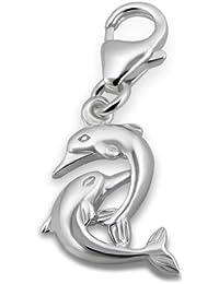 Laimons Colgante para mujer Pareja de delfines Plata de ley 925