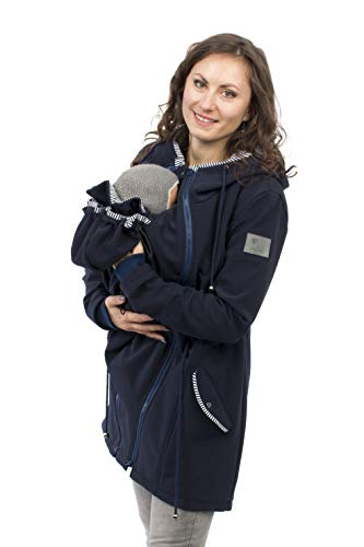 Viva la Mama - Umstandsjacke Damen, Tragemantel Vorn und Hinten Jacke mit Einsatz Kängurujacke Softshell - PINA Marine blau - XXL