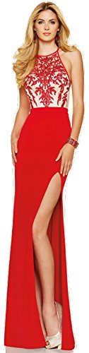 Neue Damen Rot & Nude bestickt Mieder Abendkleid langes Kleid Cruise Ball Cocktail tragen Kleid Gr. XXL UK 16 (Crossover-mieder-kleid)
