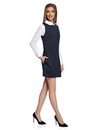 oodji Ultra Damen Kleid Basic mit Niedriger Taille Blau (7912D)