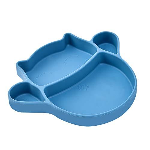 Love lamp Assiette Bébé Plaque Ventouse Silicone Assiette Souple Enfant Complément Alimentaire Bol Fente Ventouse Intégrée Vaisselle (Color : Blue)