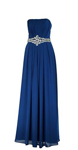 Samtlebe® - Schulterfreies Bustier Abendkleid - Chiffon mit Strass mit Band elegant lang MJ607 in Royalblau Gr. 34-46 Royalblau