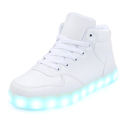 ukStore Unisex LED Schuhe Blinkende Leuchtende High Top Light Up Sneakers für Damen Herren, Weiß (Schuhe Männer Up Für Light)