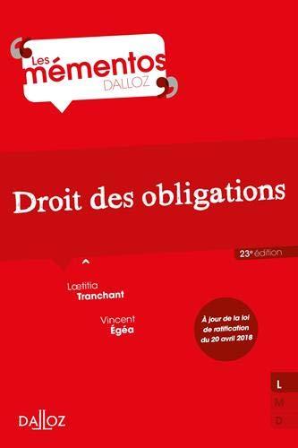 Droit des obligations - 23e éd. par Laetitia Tranchant