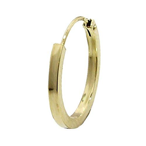 NKlaus EINZEL 585 gelb Gold CREOLE Ohrring Ohrschmuck flach Goldohrring 16mm 1845 (Gold-flache Creolen)