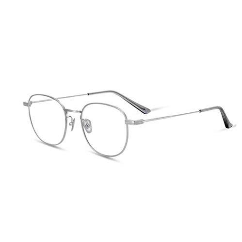 Huateng Metallrahmen Runde Brille Retro Metallklare Gläser, Unisex, Schwarz, Gold, Silber, 1 Paar