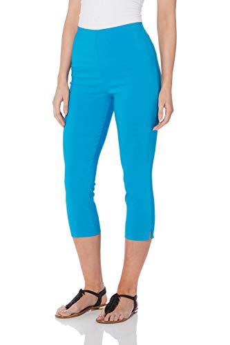 Capri-hosen-kleider (Roman Originals Damen Bengalin-Knöchelhose aus Stretch-Material - Damen mittellange Capri-Pull-on-Hosen - Sommer, Urlaub, tagsüber, Knöchelhose- 40 Farben,Blau,46 (18))