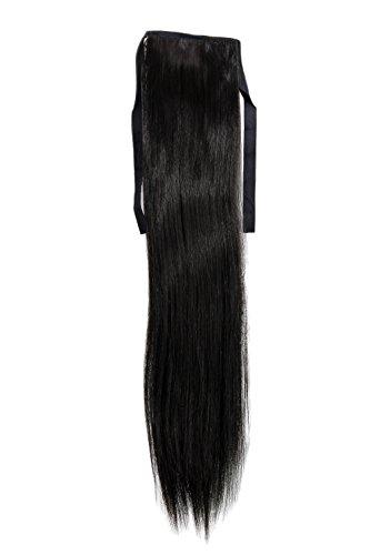 """Haarteil, Zopf schmal Seitenzopf Cosplay Schwarz glatt 18\""""/ 45cm YZF-TS18-2 Band Haar-Klammer Haarverlängerung"""