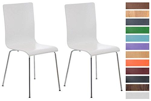 Clp set 2x sedie visitatore pepe | sedia attesa con seduta in legno e telaio in metallo cromato | sedia ergonomica e facile da pulire | sedia moderna robusta bianco