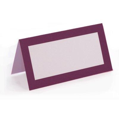 Preisvergleich Produktbild Tischkarten mit farbigem Rahmen Design–50Pack–Mulberry