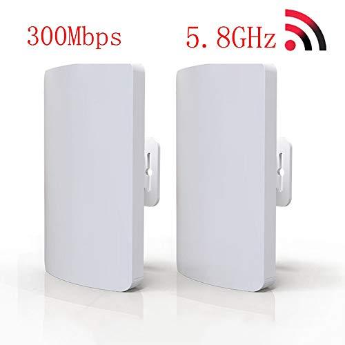 Wireless-ethernet-bridge (SHKY 2pcs Outdoor Wireless Bridge, 300 Mbps, 5,8G Mini Network Bridge, 3 km Entfernung Outdoor Wireless Access Point, für Außenanwendungen)