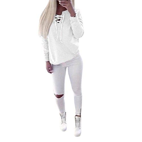 Vovotrade ❤❤Heiß !!! Frauen Herbst lange Hülsen Pullover Spitze Oberseiten-Blusen beiläufiges Sport T-Shirt Weiß