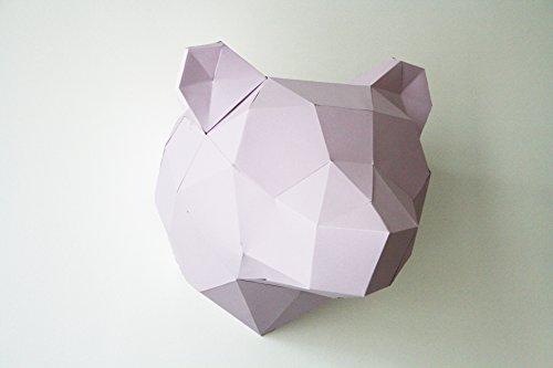 Trophäe Tier Bär–Papier Origami 3D Lilas