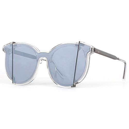 WangYi Sonnenbrillen- Vintage Unisex-Sonnenbrille mit UV-Schutz, Einteilige Nylon-Sonnenbrille, runde, verlegte Sonnenbrille, handgefertigt, schwarz, Silber (Color : Gray, Size : 14.9cm)