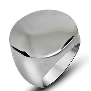 AnazoZ Schmuck Ring für Herren Edelstahl Ring Breit Silber Siegelring Bandring Biker Ring für Männer mit Kostenlos Gravur