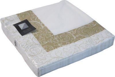 40 LUXURY 3 PLY WHITE & GOLD LEAF PATTERN PAPER NAPKINS - 33cm x 33cm Ideal for weddings, christenings, parties, bbq's etc FREE DELIVERY