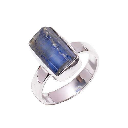 Lavie jewelz anello in argento sterling 925, taglia m 1/2, pietra naturale di cianite blu naturale, gioielli alla moda da donna rsr2938