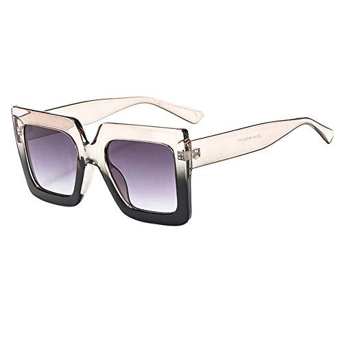 jgashfSonnenbrillen Unisex Verbreiterte Runde Gesicht Sonnenbrille MäNner Big Box Fashion Chic Square Brille Weibliche Gezeiten Retro Harajuku Stil Paar Brille (C)