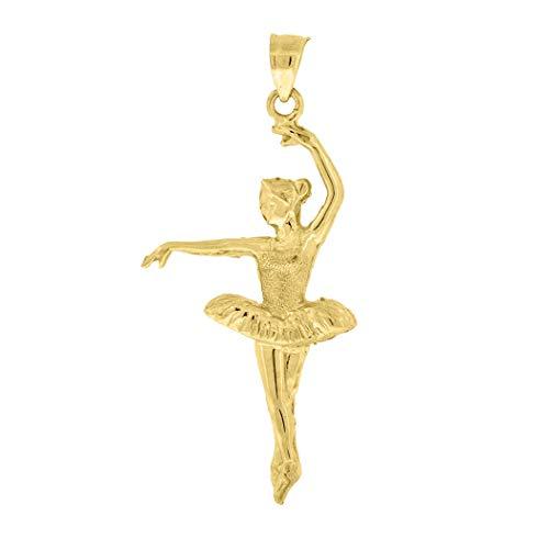 Damen Charm-Anhänger 10 Karat Gold strukturierte Ballerina 46,1 mm hoch x 20,2 mm breit - höher als 9 Karat Gold -