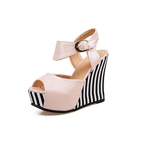 Wedges Shoes peep Toe Buckle Strap Soft pu Leather Platform Casual Summer Shoes Woman Fashion Ladies Sandals Pink 10 Gingham Wedges